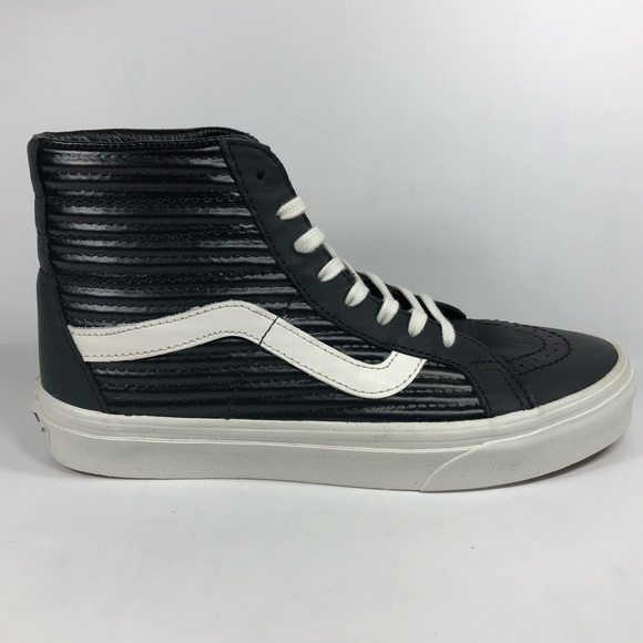 40d8a4e08397 Vans Shoes | Sk8 Hi Moto Leather Black White Sneakers | Poshmark